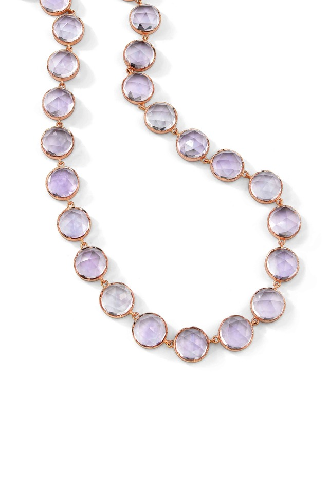 Rose Gold Rose De France Amethyst Necklace