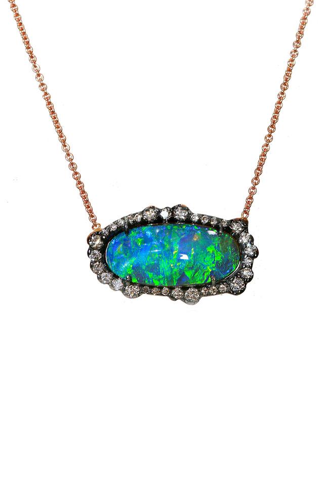 Gold Boulder Opal Diamond Pendant Necklace