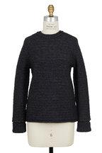 Wes Gordon - Anthracite Tunisian Crochet Knit Crewneck Sweater