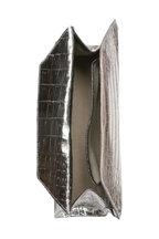 Nancy Gonzalez - Metallic Silver Crocodile Trapezoid Clutch