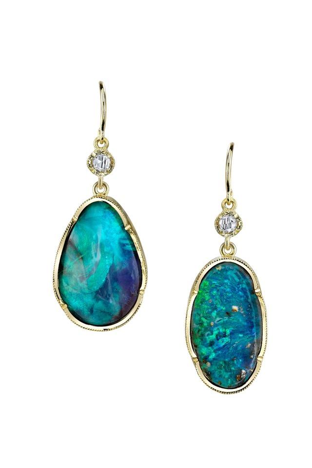 Gold Opal Diamond One-Of-A-Kind Dangle Earrings