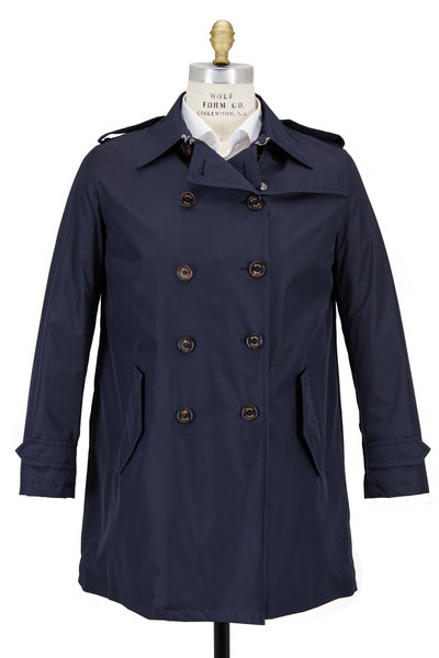 Sealup - Navy Blue Wool Trench Coat