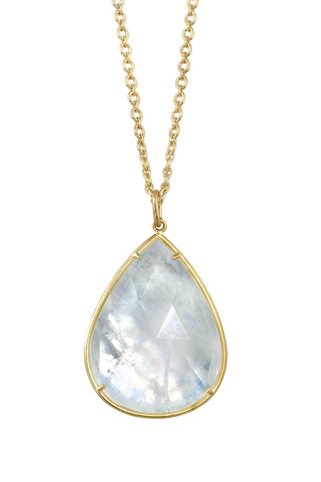 Gold Rose-Cut Rainbow Moonstone Necklace