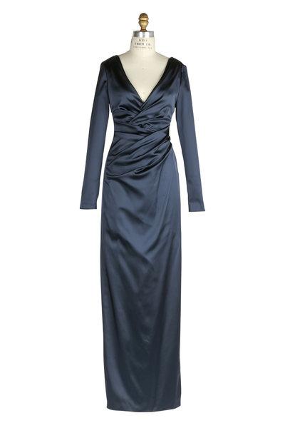 Talbot Runhof - Navy Blue Deep V-Neck Long Sleeve Gown