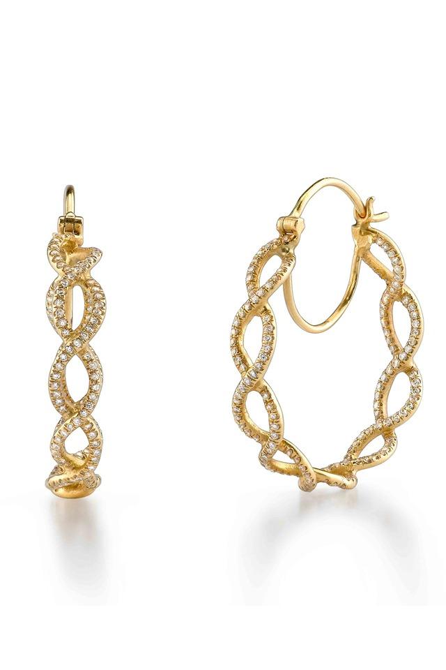 Gold Braided Diamond Hoop Earrings