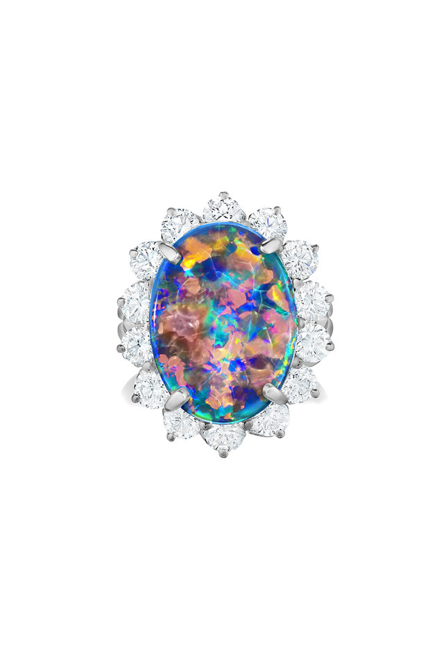 Platinumn Opal & Diamond Ring