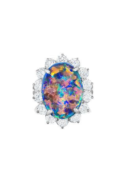 Oscar Heyman - Platinumn Opal & Diamond Ring