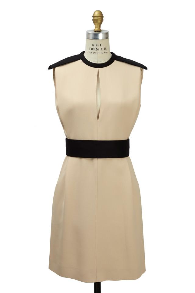 Cream Crepe Sable No Sleeve Set Waist Dress