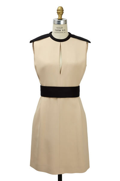 Chloé - Cream Crepe Sable No Sleeve Set Waist Dress