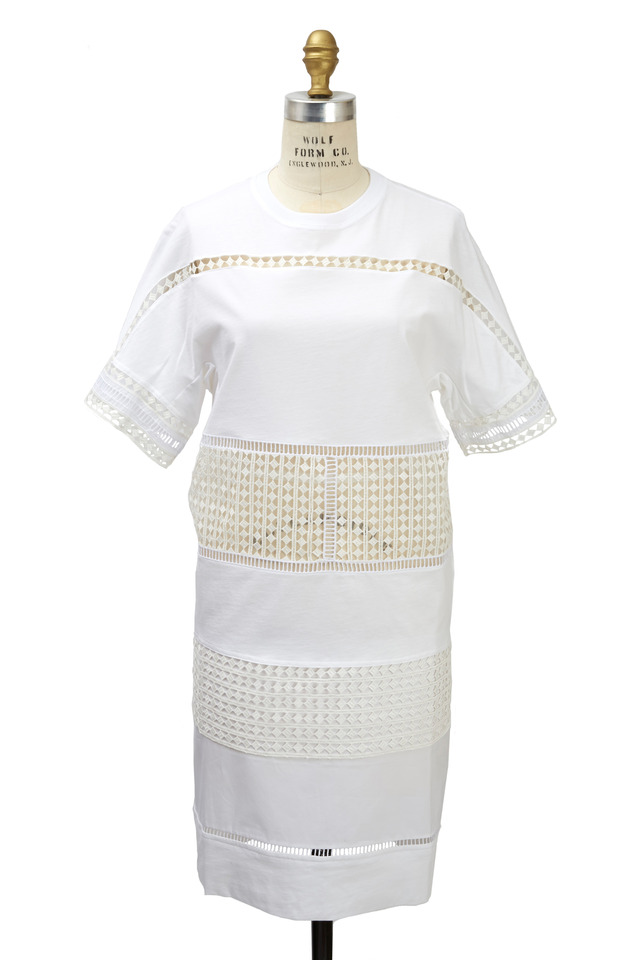 White Silk & Cotton Lace Tunic Dress