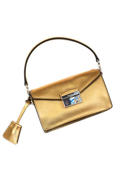 Prada - Gold Saffiano Sport Mini Sound Crossbody Handbag