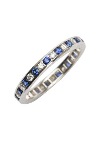 Oscar Heyman - Platinum Alternating Sapphire & Diamond Guard Ring
