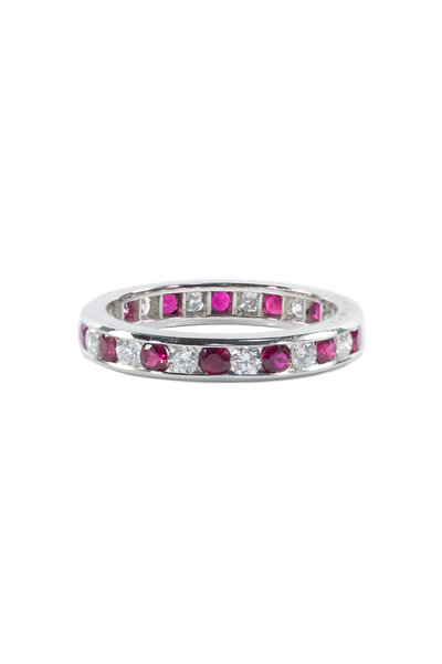 Oscar Heyman - Platinum Alternating Ruby & Diamond Guard Ring
