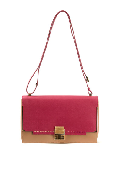 Lanvin - New Partition Fuschia & Beige Leather Shoulder Bag