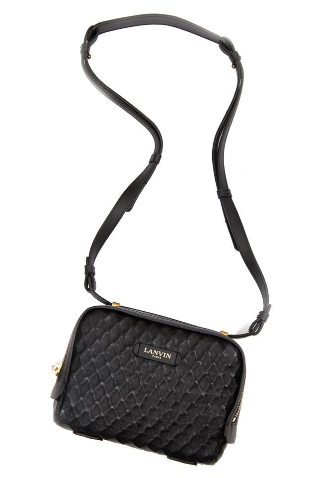 Padam Black Embossed Leather Mini Crossbody Bag