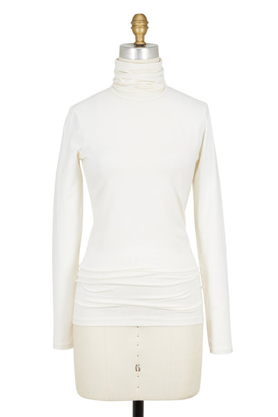Ralph Lauren - Cailee White Stretch Jersey Turtleneck