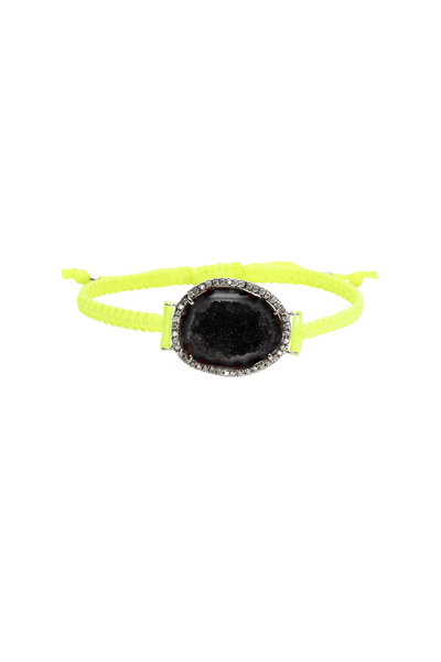Kimberly McDonald - 18K White Gold Geode & Diamond Macrame Bracelet