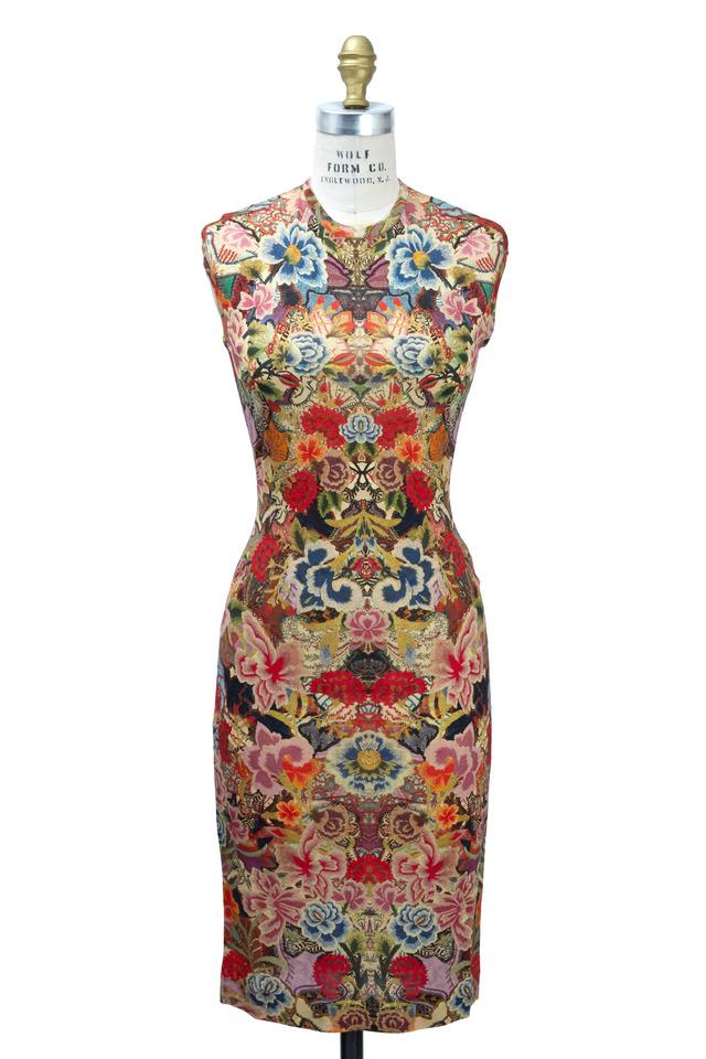 Floral Wool Cap Sleeve Dress, Long