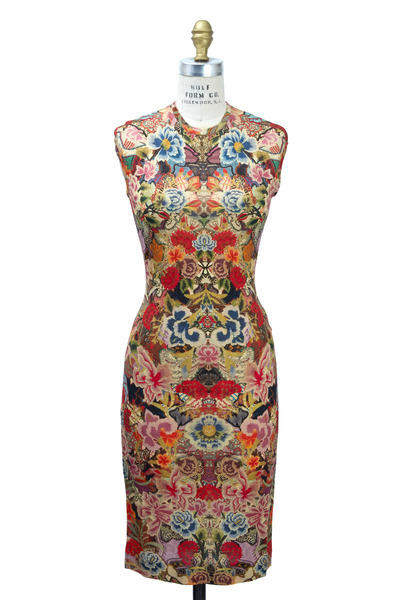 Alexander McQueen - Floral Wool Cap Sleeve Dress, Long
