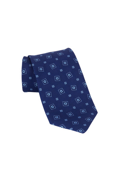 Charvet - Navy Blue Patterned Silk Necktie