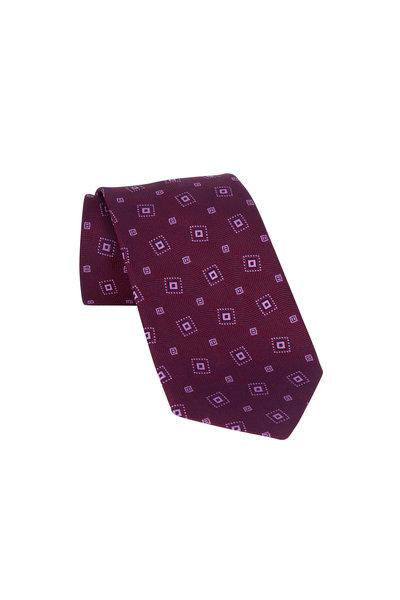 Charvet - Burgundy Patterned Silk Necktie