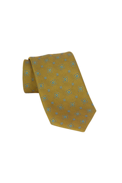 Charvet - Mustard Yellow & Blue Patterned Silk Necktie
