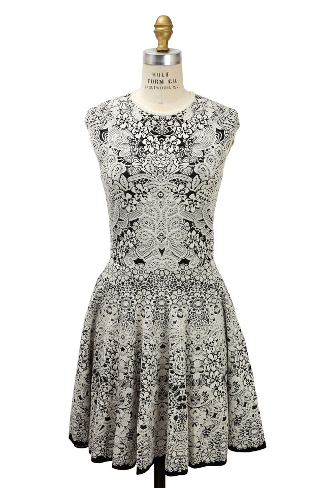 Black & Ivory Spine Crocodile Lace Dress