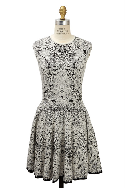 Alexander McQueen - Black & Ivory Spine Crocodile Lace Dress