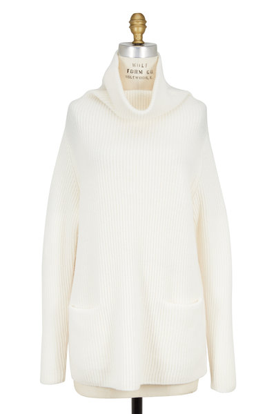 Vince - Optic White Cashmere Turtleneck Sweater