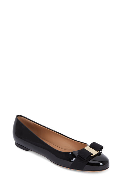 Salvatore Ferragamo - Varina Black Patent Leather Bow Flat