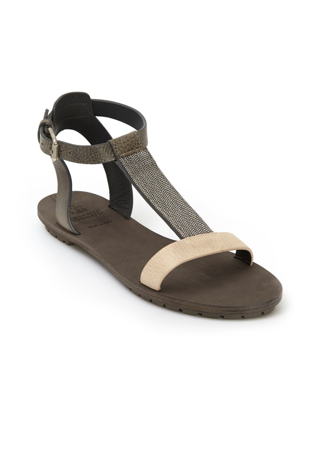 Grey & Cream Leather Monili T-Strap Sandals