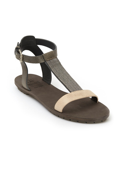 Brunello Cucinelli - Grey & Cream Leather Monili T-Strap Sandals