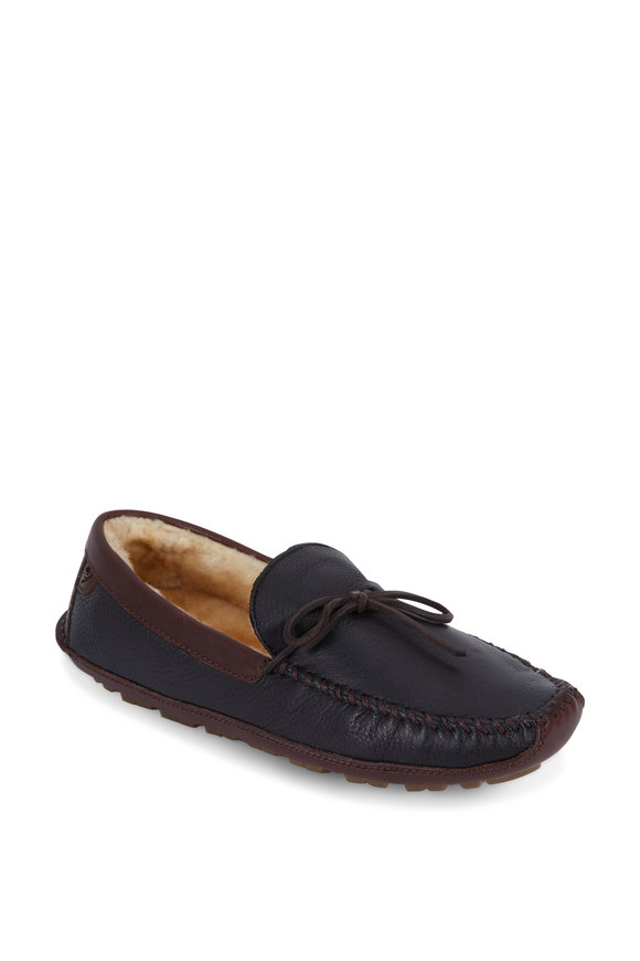 Trask Polson Black Elk Leather Shearling Lined Slipper