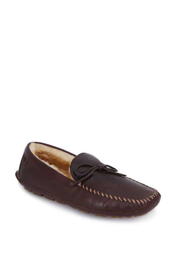 Trask Polson Bourbon Leather Shearling Lined Slipper