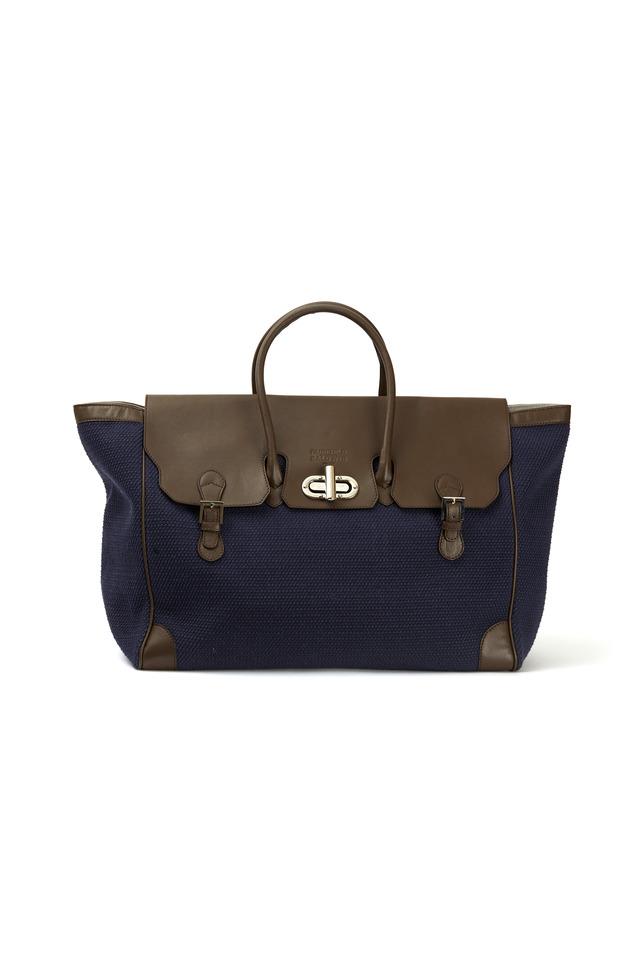 Marcella Grande Navy Blue Canvas East West Handbag