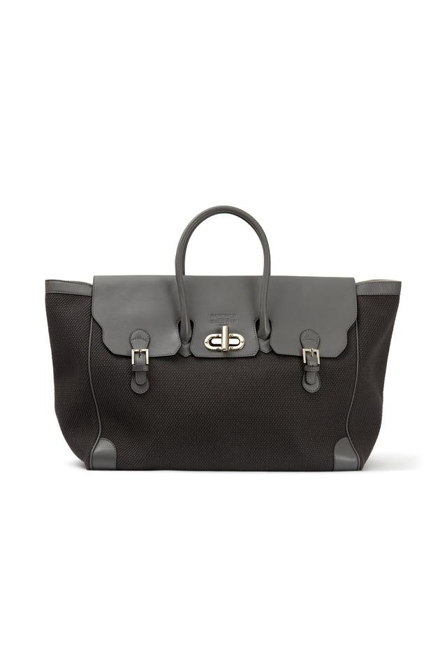 Marcella Grey Canvas East West Handbag