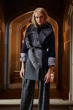 Michael Kors Collection - Slate Glen Plaid Detachable Fur Muffler