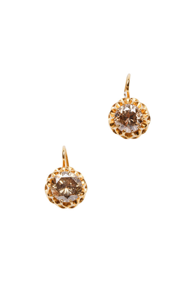 18K Yellow Gold Cinnamon Diamond Earrings
