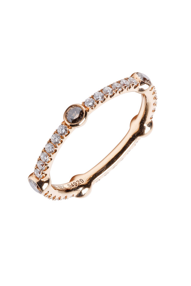 18K Pink Gold Diamond Stackable band
