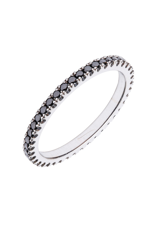 18K White Gold Black Diamond Stackable Band
