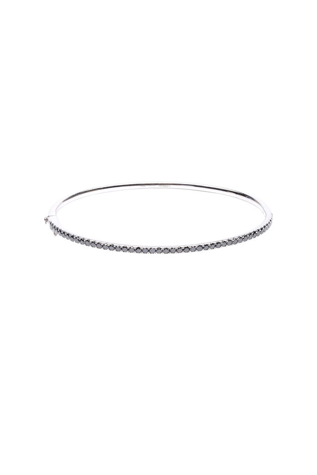 18K White Gold Black Diamond Stackable Bracelet