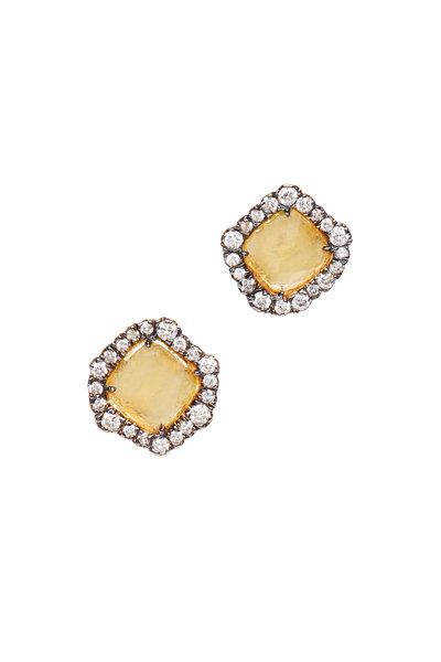 Kimberly McDonald - Light Geode & Diamond Stud Earring
