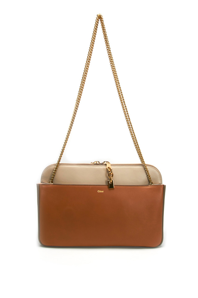 Lucy Tan Leather Medium Chain Shoulder Bag