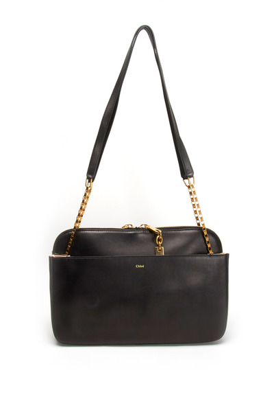 Chloé - Lucy Black Leather Medium Chain Shoulder Bag