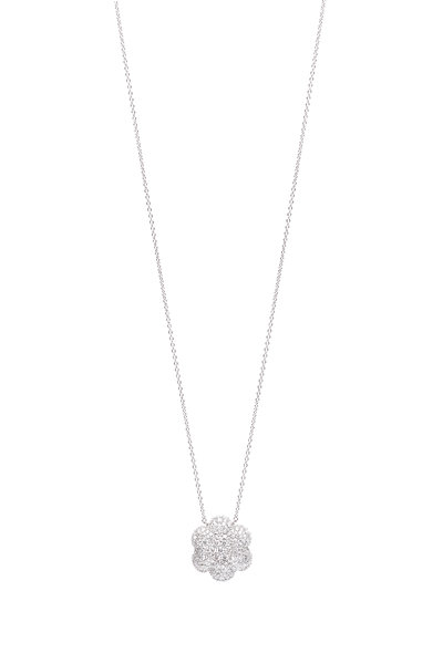 Kwiat - 18K White Gold Diamond Cluster Necklace