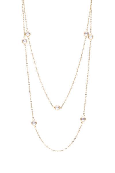 Caroline Ellen - 18K Yellow Gold White Sapphire Station Necklace