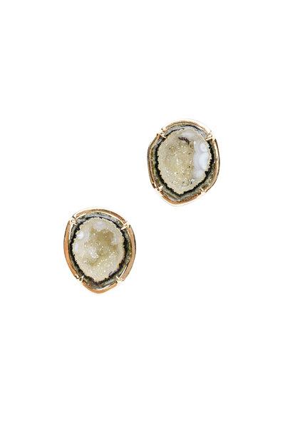 Kimberly McDonald - Green Geode Stud Earrings