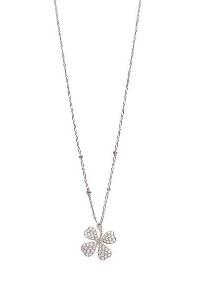 Kwiat - 18K White Gold Diamond Clover Pendant