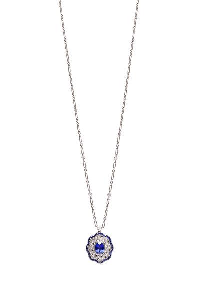 Kwiat - 18K White Gold Sapphire & Diamond Swirl Necklace