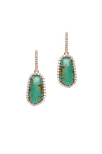 Kimberly McDonald - 18K Rose Gold Turquoise & Diamond Drop Earrings